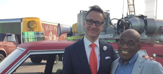 Al Roker and Paul Feig on the set of Ghostbusters (2016)