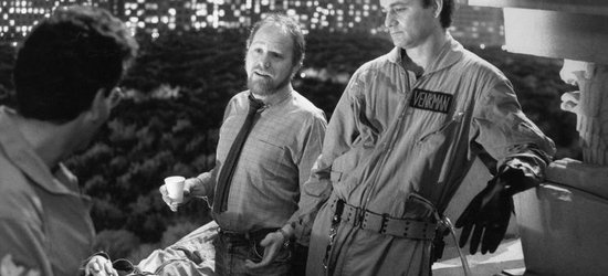 Michael C. Gross, Bill Murray and Dan Aykroyd on the set of Ghostbusters